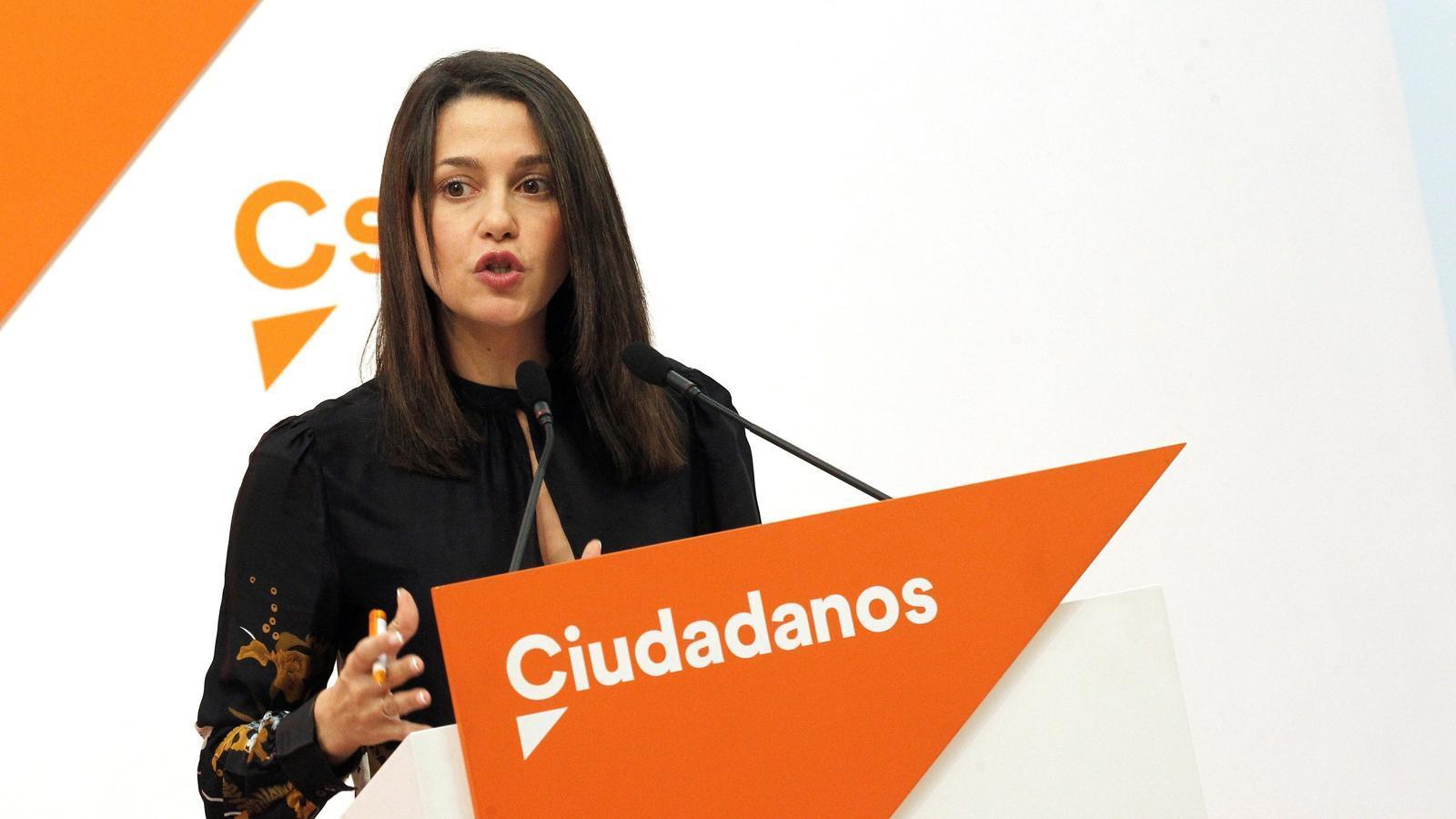Inés Arrimadas, en roda de premsa després de la reunió permanent de Cs, aquest dilluns a Madrid