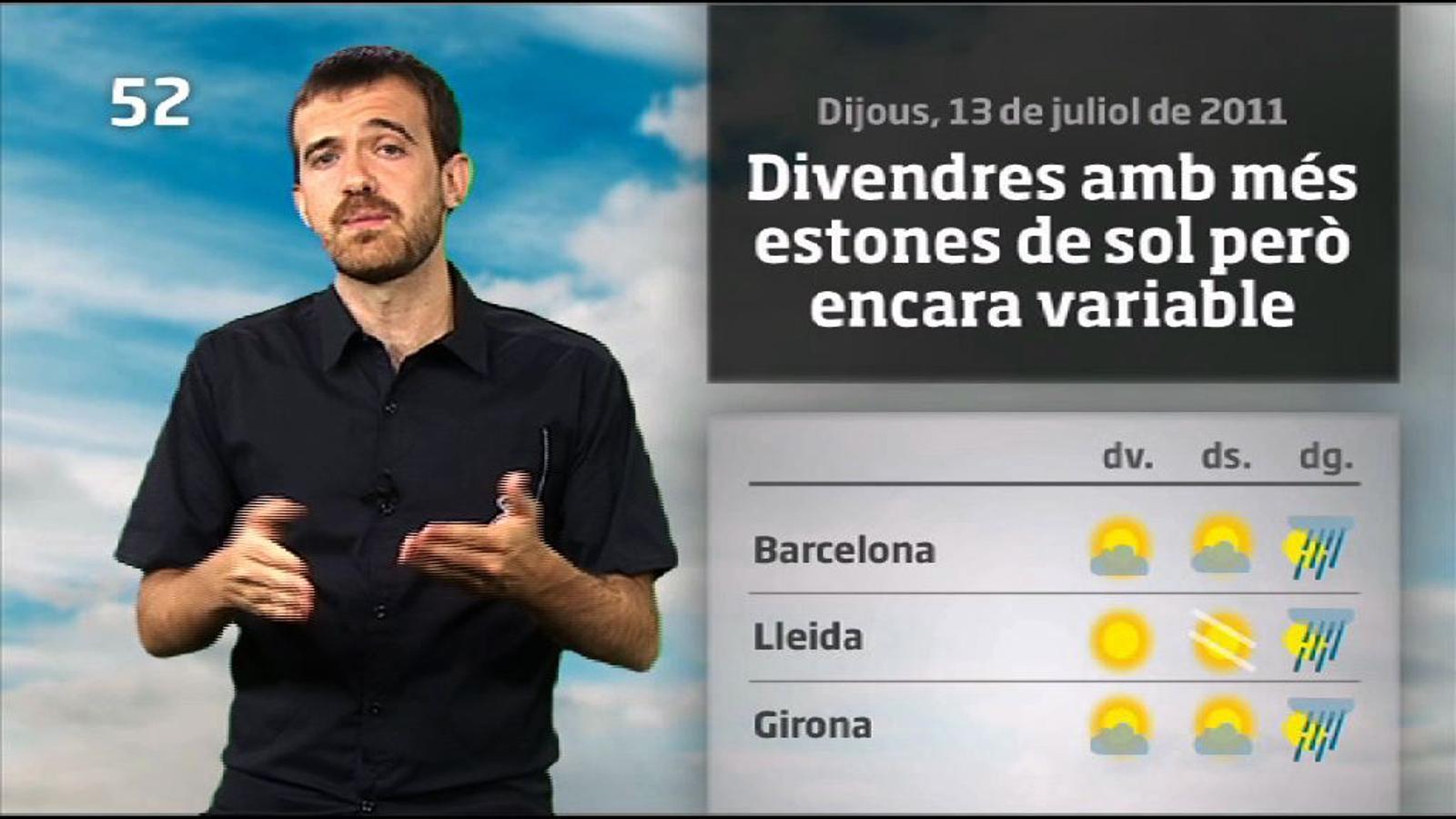 La méteo en 1 minut: demà farà més sol però no s'acaben els canvis (14/07/2011)
