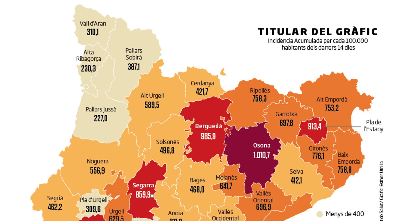 El mapa mostra la incidència acumulada per cada 100.000 habitants registrada els darrers 14 dies