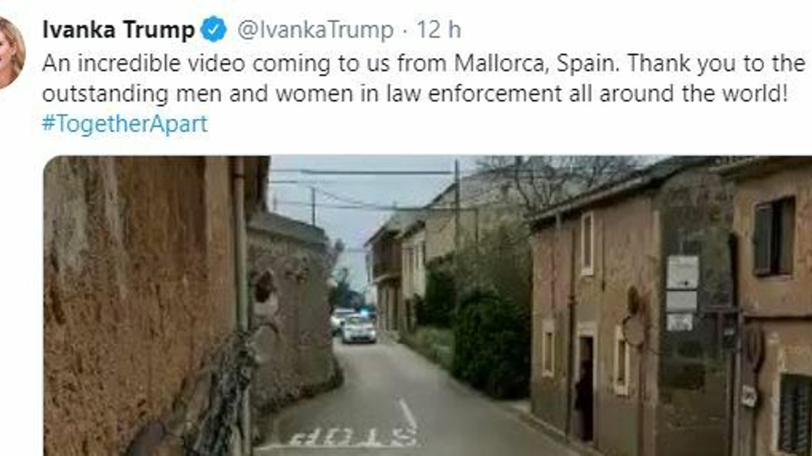 Captura de pantalla del tuit d'Ivanka Trump