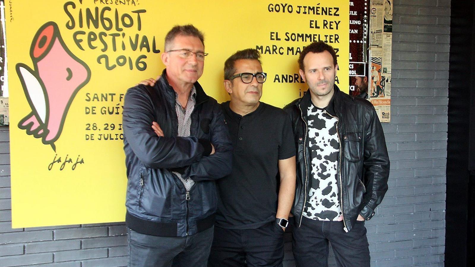 Fermí Fernández, Andreu Buenafuente i Marc Martínez durant la presentació a la sala Barts de la segona edició del Singlot Festival.