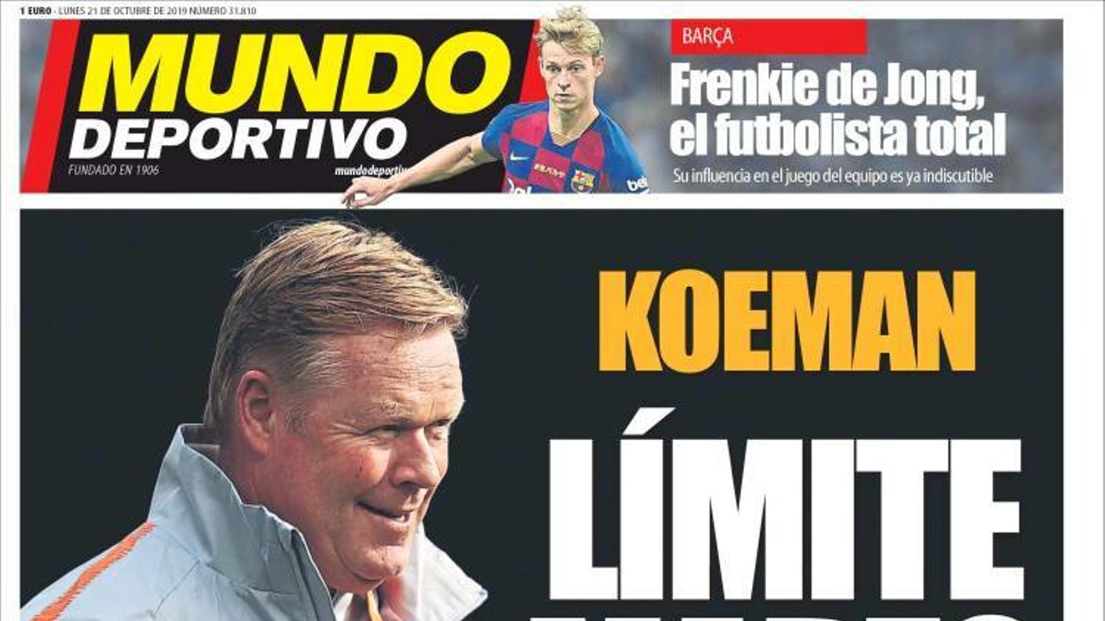Portada 21 octubre 2019 Mundo Deportivo