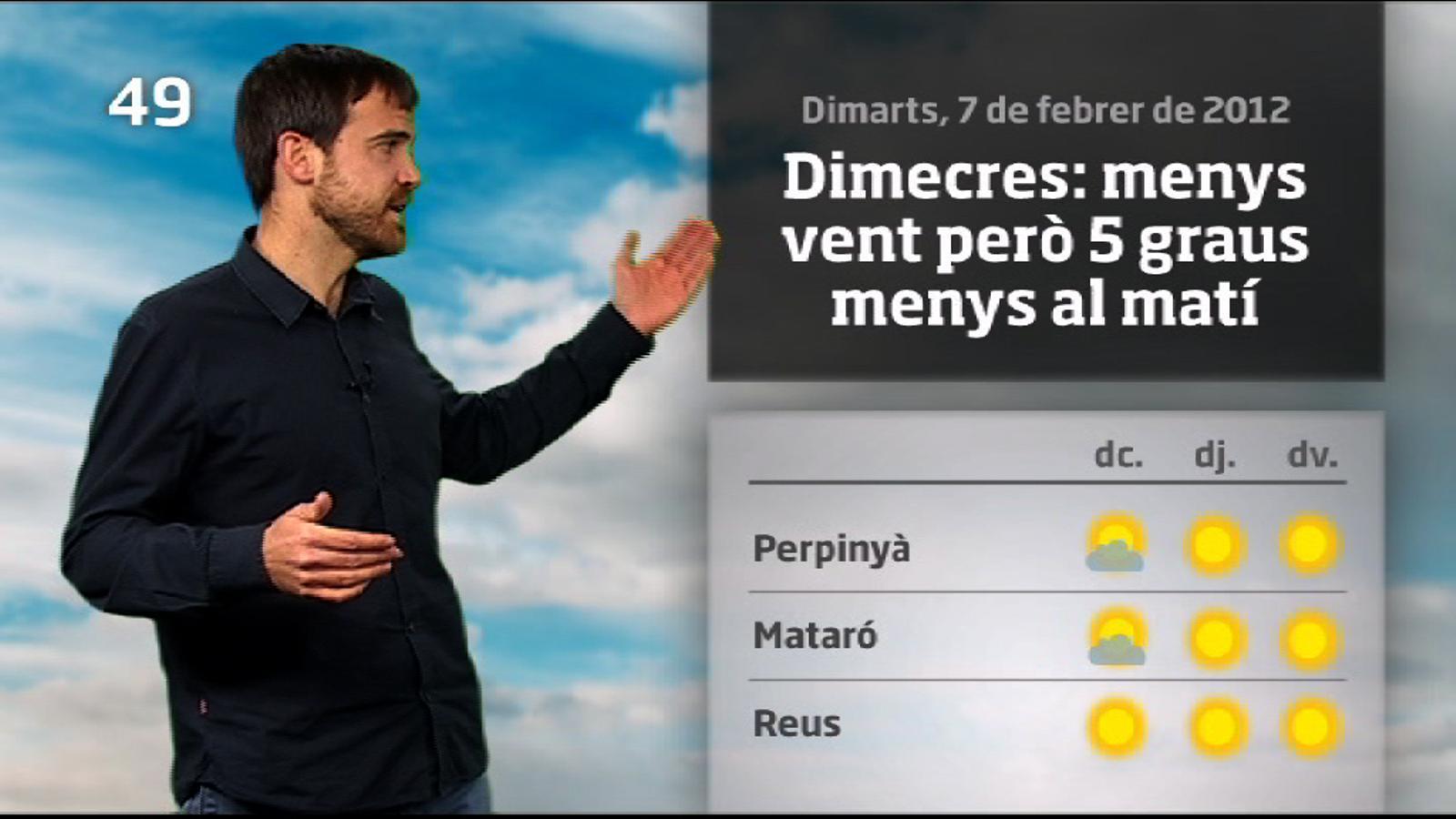 La méteo en 1 minut: menys vent però més fred (08/02/2012)