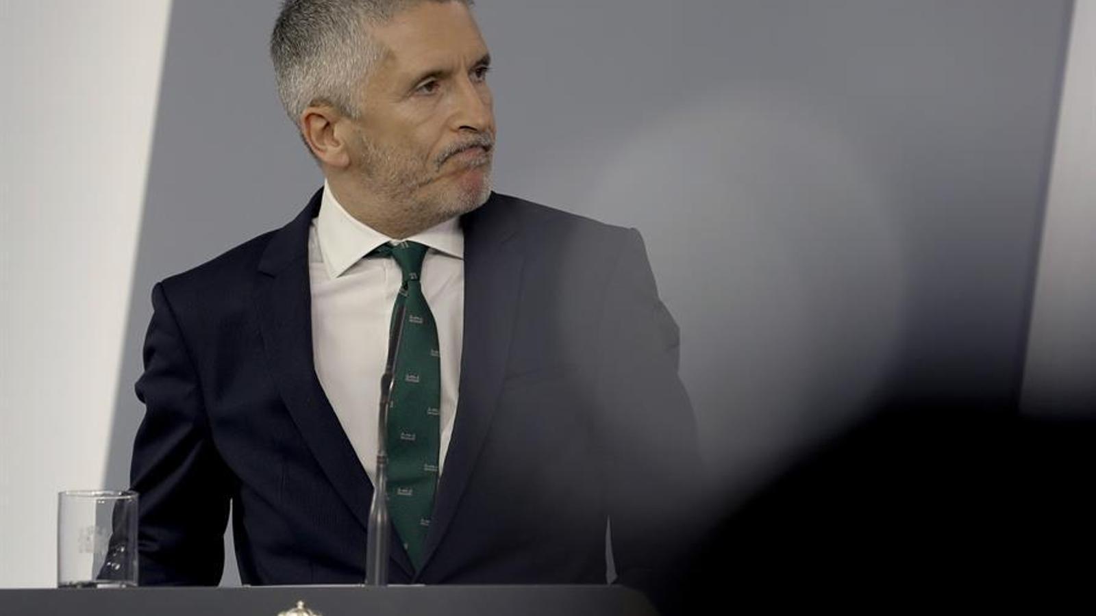 El ministre de l'Interior, Fernando Grande-Marlaska, en roda de premsa a la Moncloa