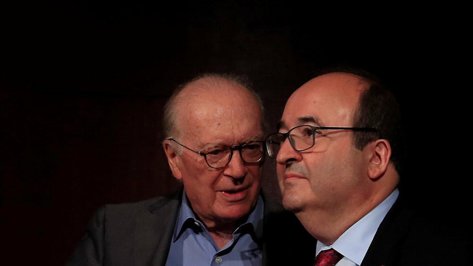 El primer secretari del PSC, Miquel Iceta, ahir en la conferència 'Espanya federal'.