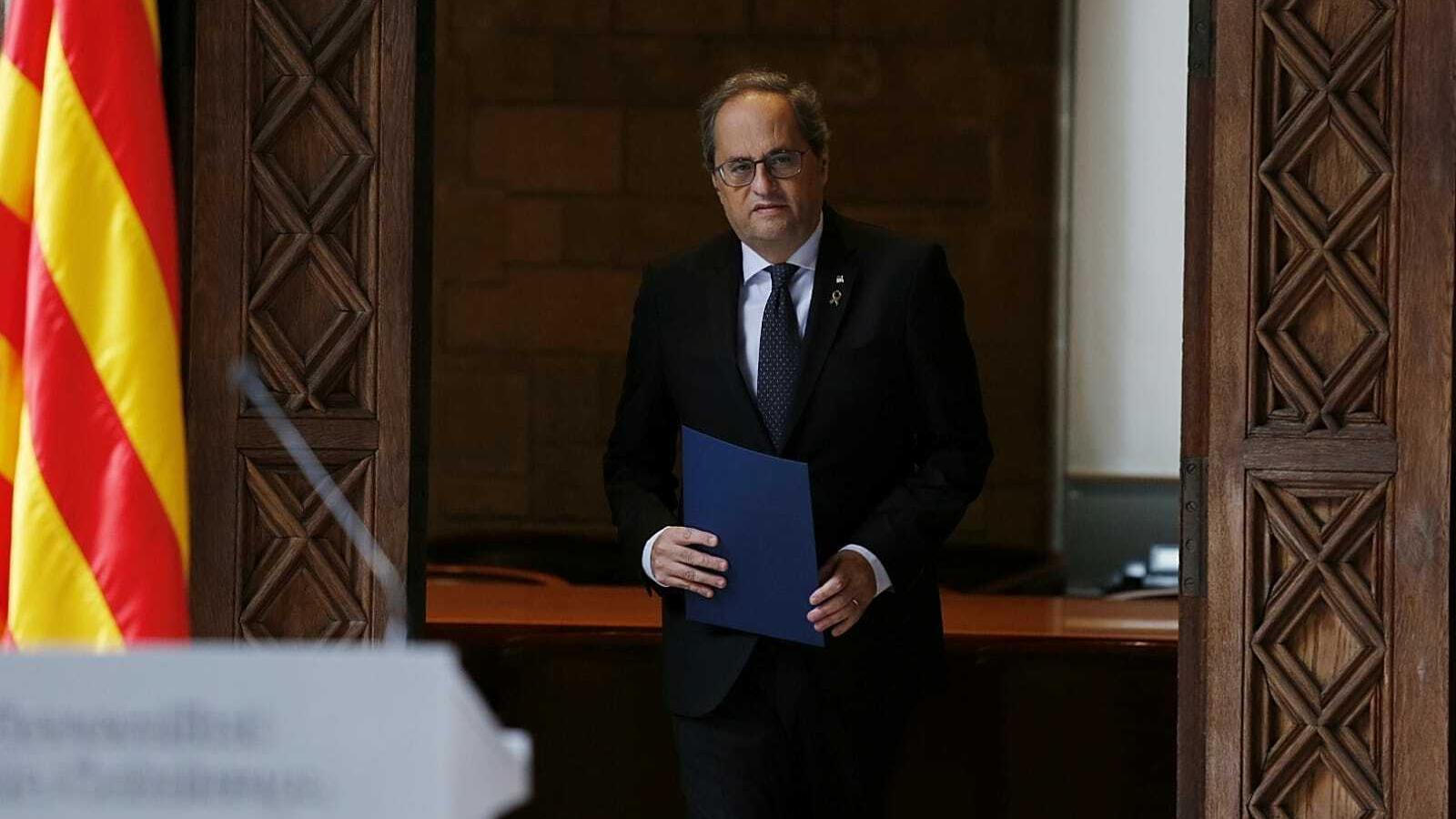 El president de la Generalitat, Quim Torra, aquest matí a la compareixença