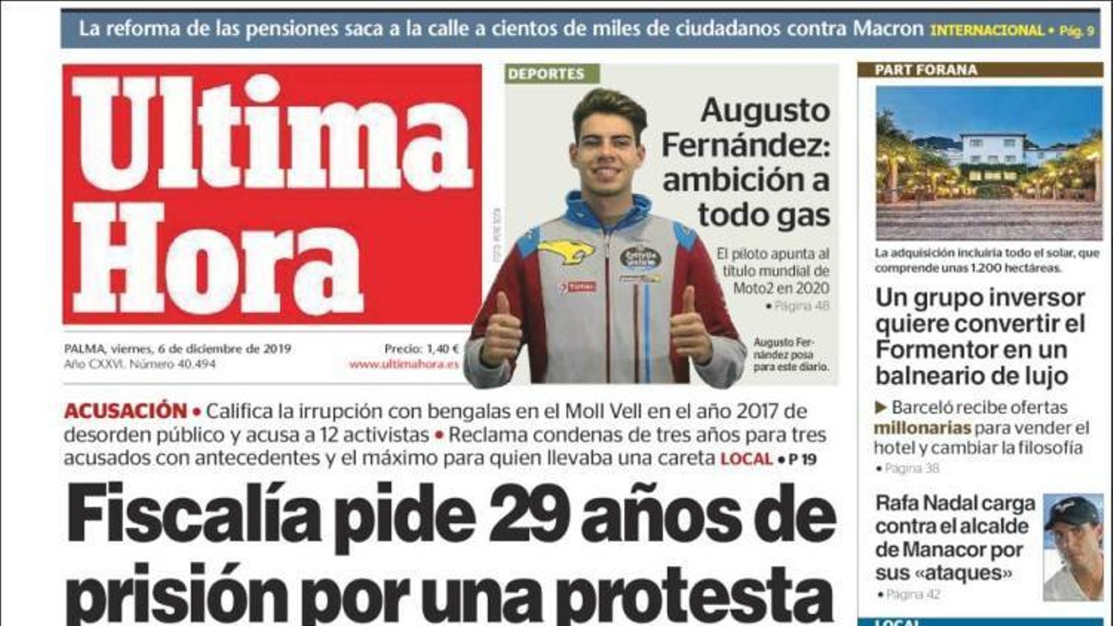 """""""La Fiscalia demana 29 anys de presó per una protesta contra el turisme d'Arran"""", portada d''Última Hora'"""