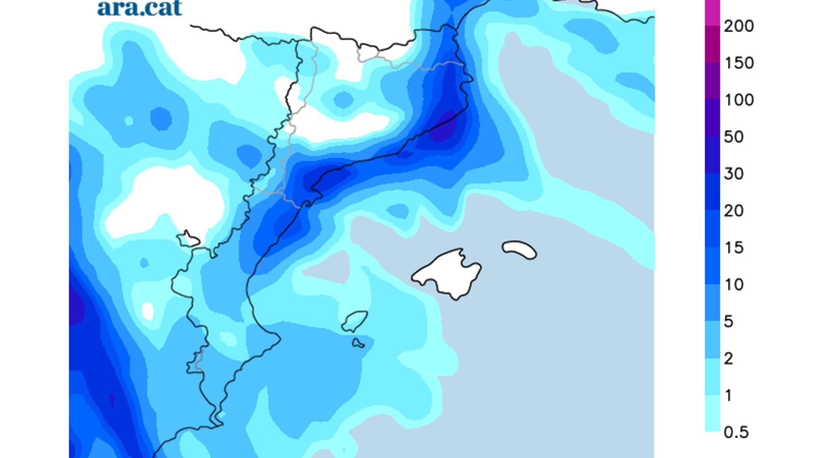 Acumulacions de precipitació previstes per dijous