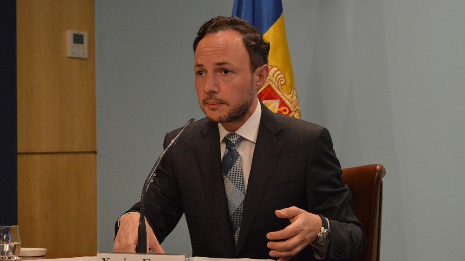 El cap de Govern, Xavier Espot, durant la roda de premsa d'aquest divendres. / M. F. (ANA)