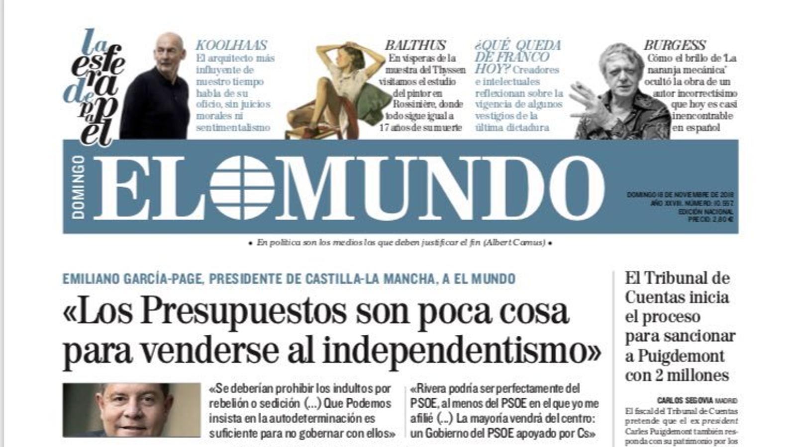 Portada d'E Mundo, , 18 de novembre del 2018