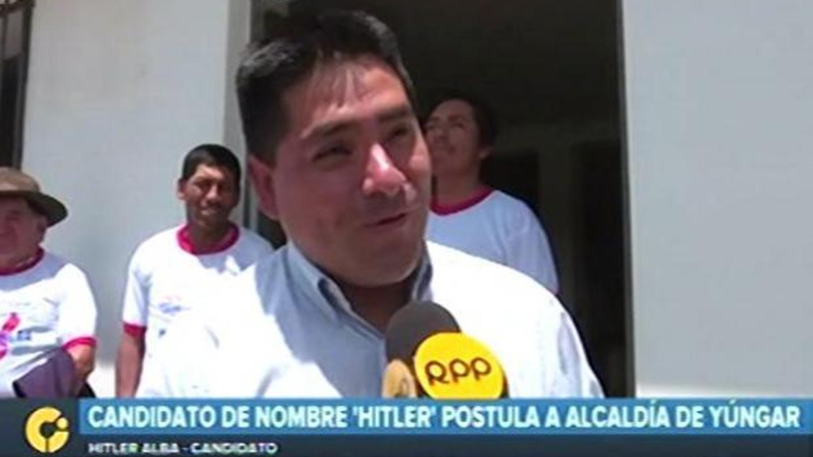Hitler Alba Sánchez un dels candidats a l'alcaldia de la localitat peruana de Yungar.