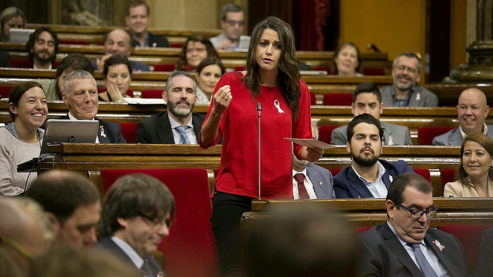 La líder de Ciutadans al Parlament, Inés Arrimadas, durant una intervenció al ple.