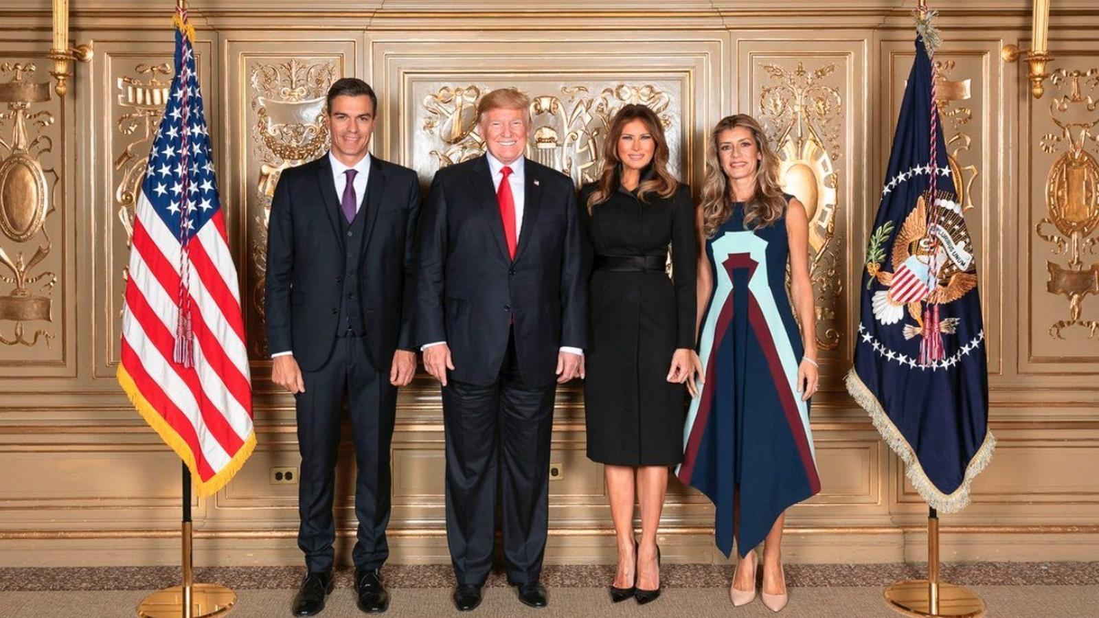 El president espanyol, Pedro Sánchez, i la seva dona, amb el president dels EUA, Donald Trump, i la seva dona, durant l'Assemblea General de l'ONU 2018.