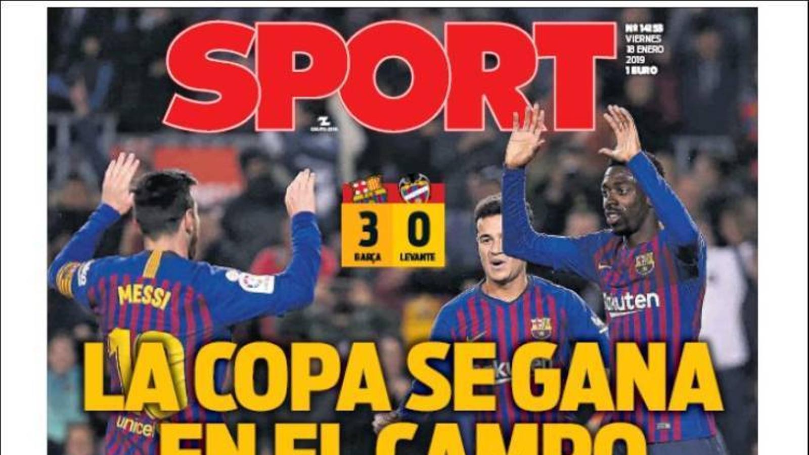 """""""La Copa es guanya al camp i no als despatxos"""", portada de l''Sport'"""