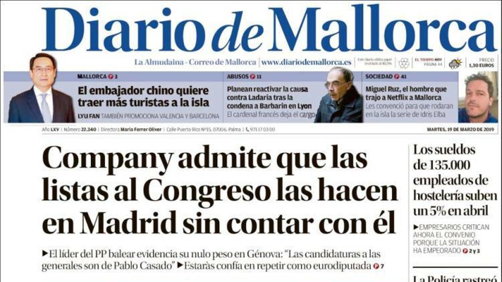 """""""Torra serà inhabilitat si no retira avui els llaços"""", portada d''El Mundo'"""