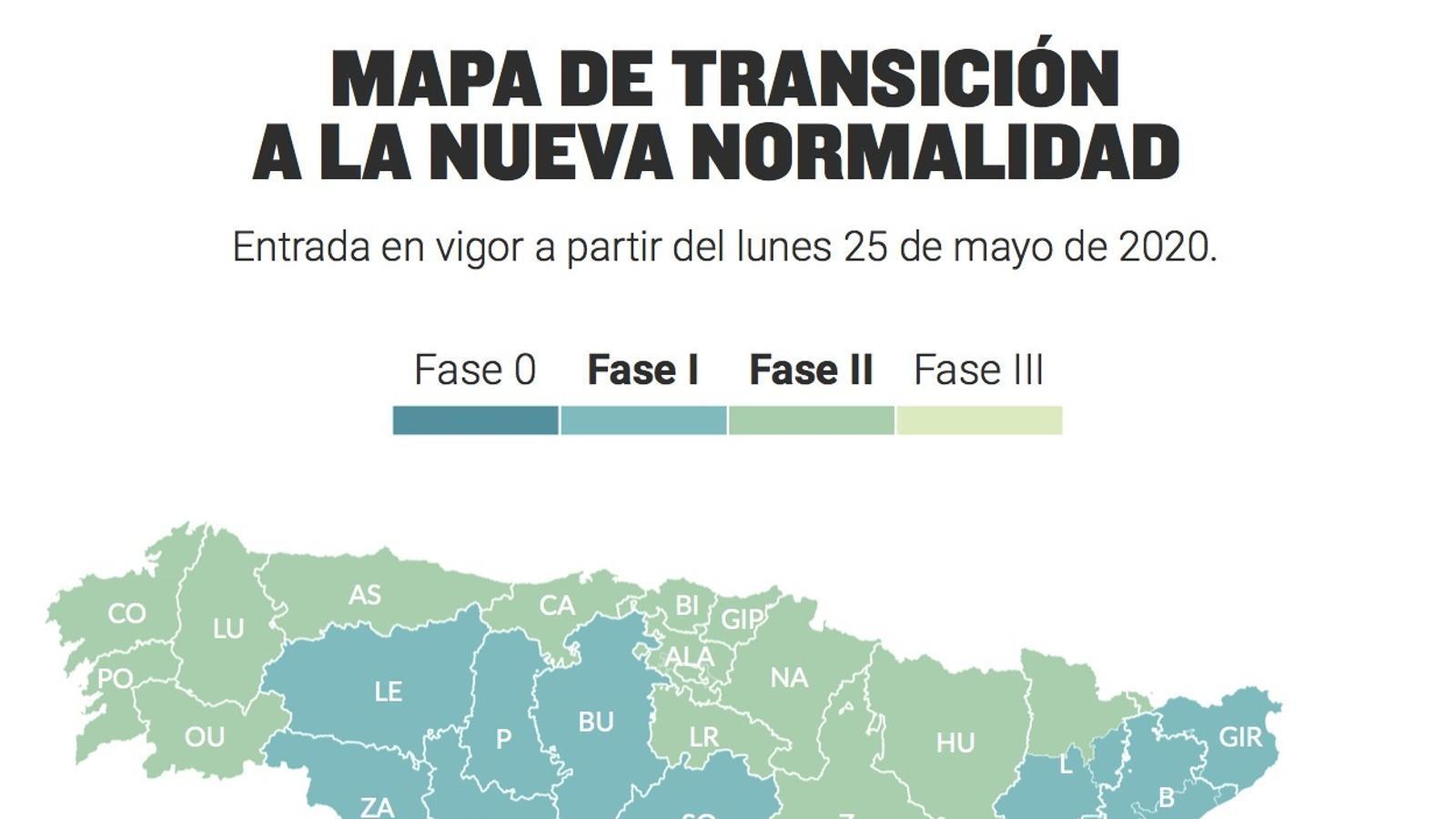 El mapa del govern espanyol amb les zones que canvien de fase el dilluns 25