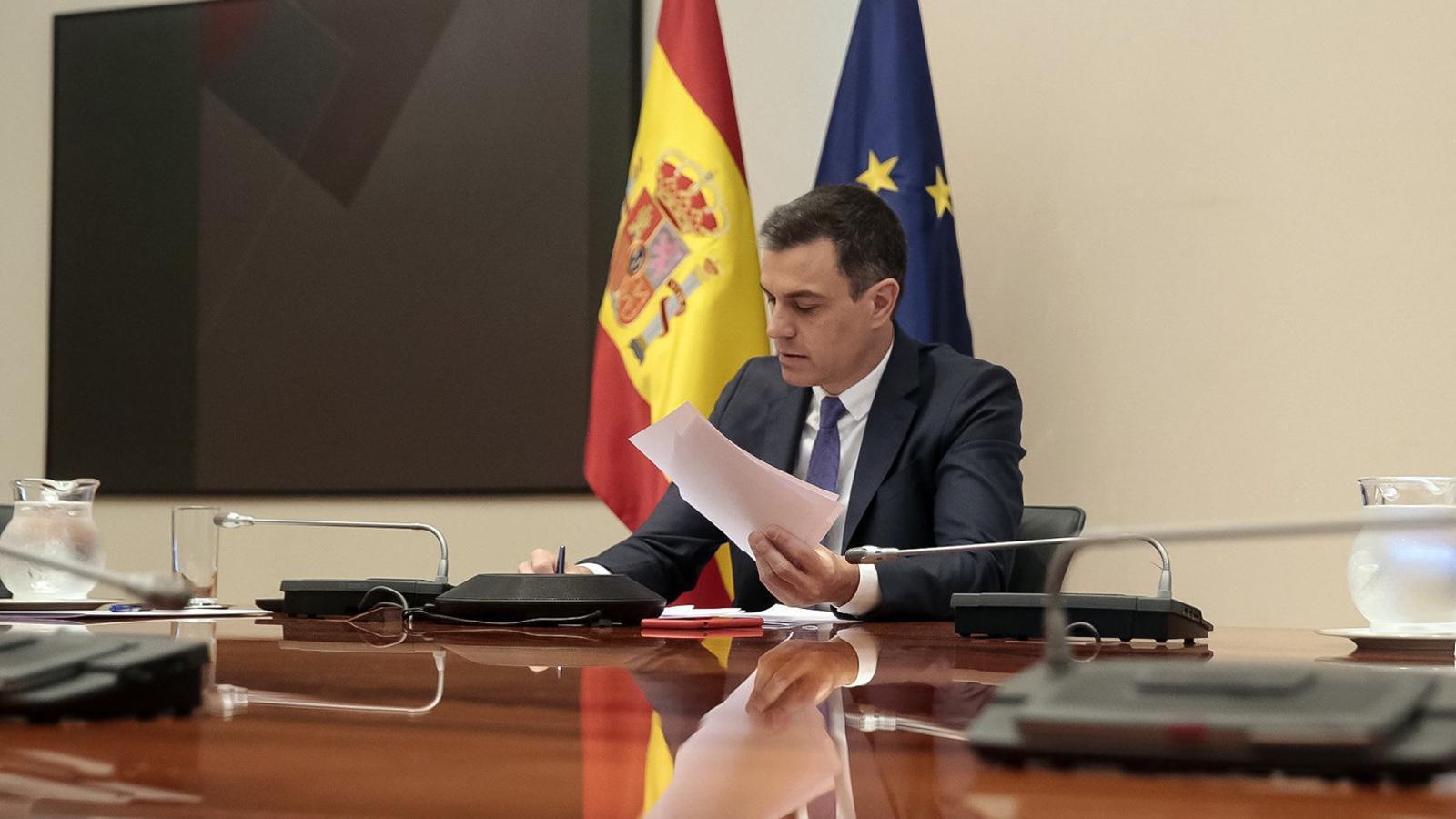 Pedro Sánchez ahir a la Moncloa durant la conferència de presidents.