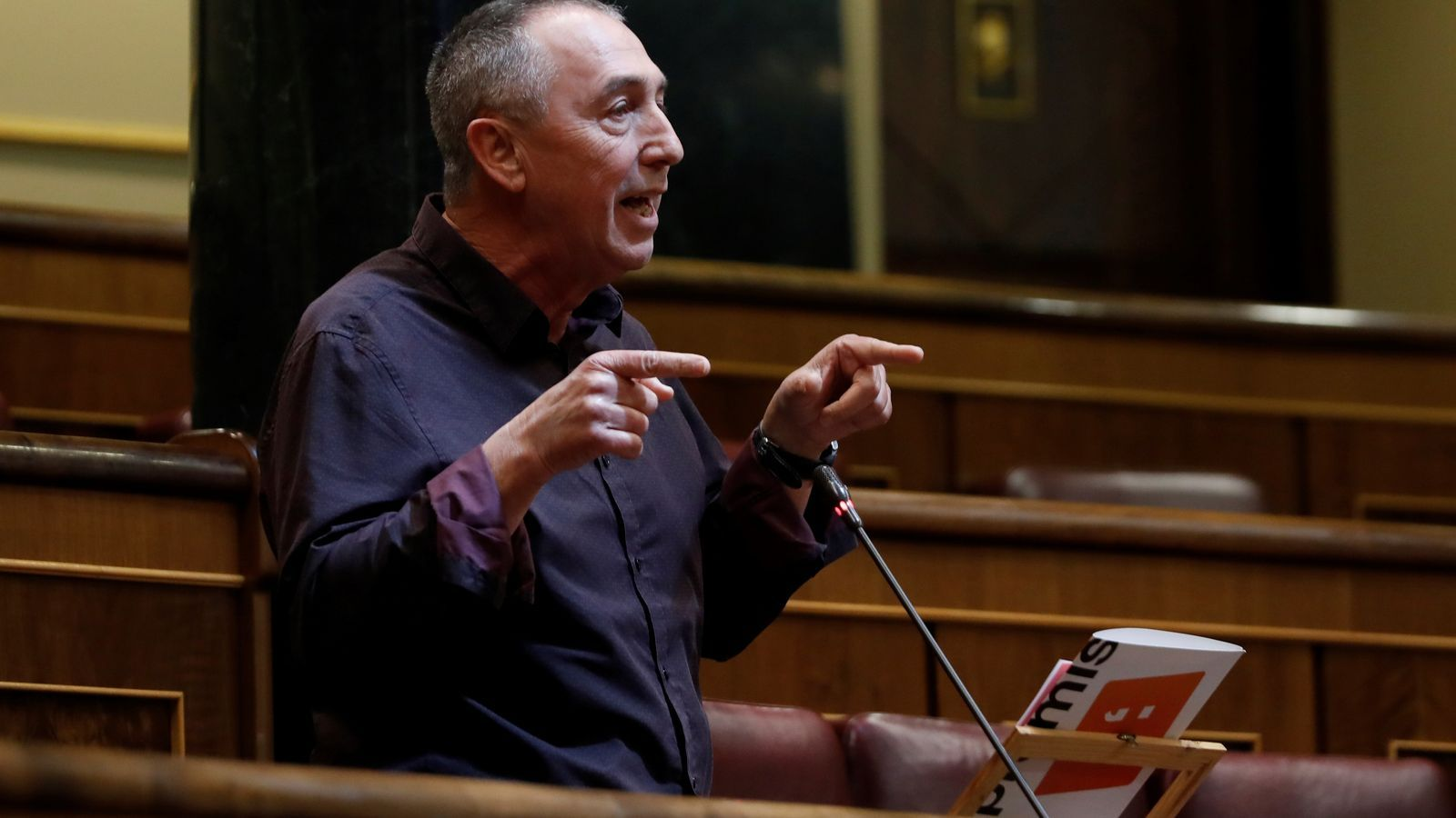 El portaveu de Compromís,Joan Baldoví, durant la seva intervenció al Congrés de Diputats aquest dimecres