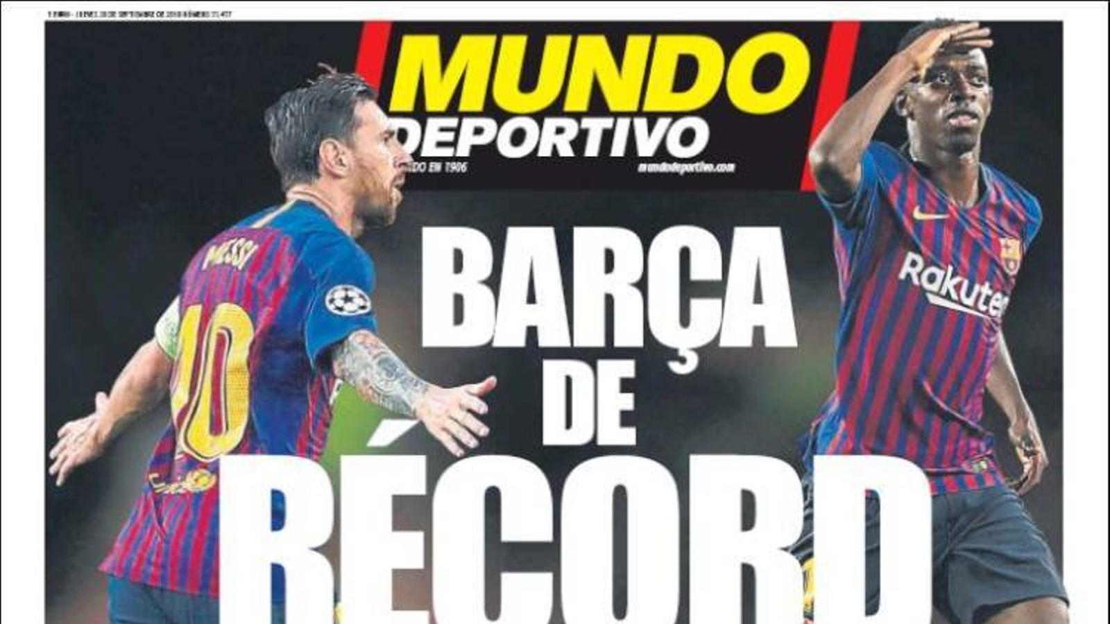 Portada 20 setembre 2018 Mundo Deportivo