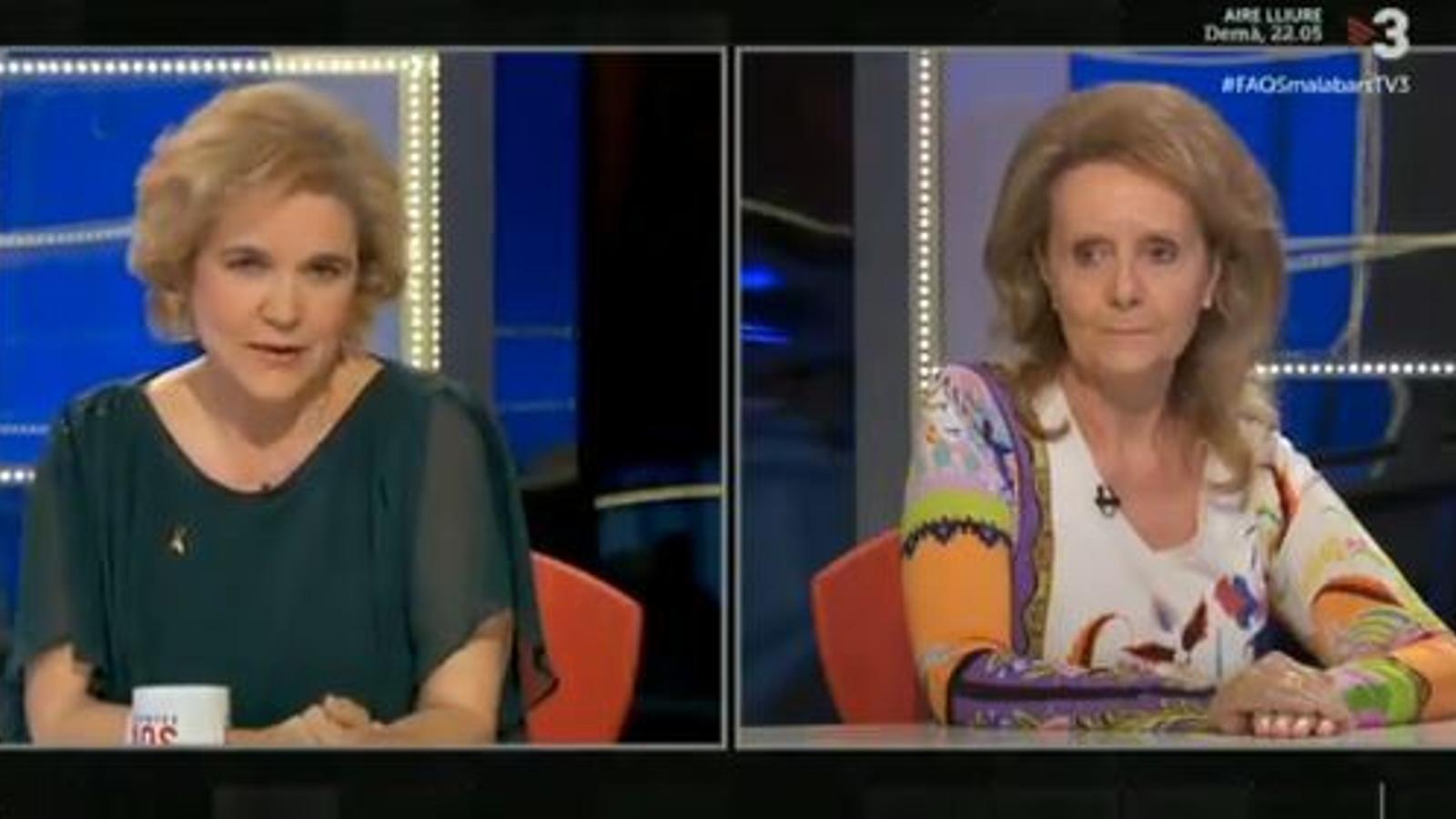 La periodista Pilar Rahola i la ja exconsellera de Cultura Mariàngela Vilallonga