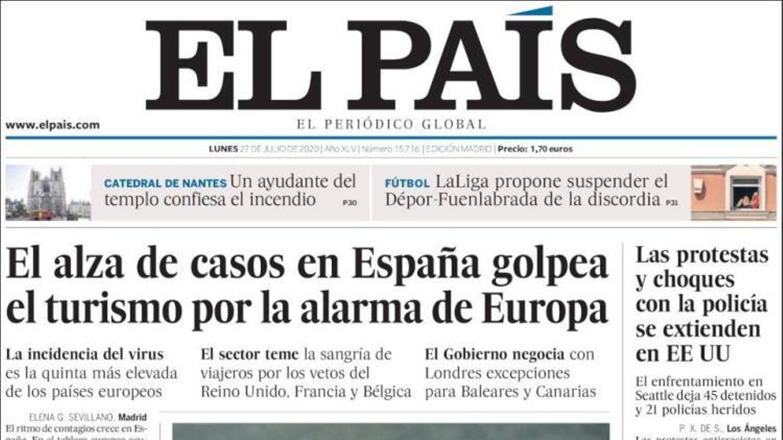 Portada d'El País, 27 de juliol del 2020