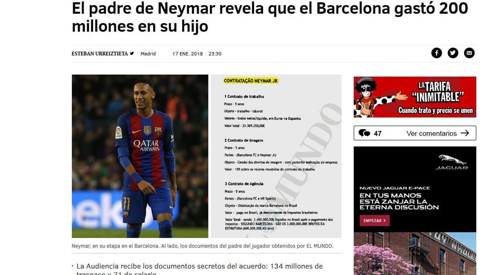 Informació de 'El Mundo' sobre el fitxatge de Neymar pel Barça