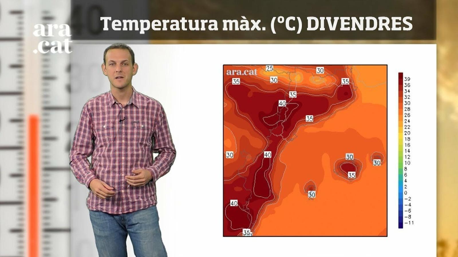 La méteo en 1 minut: més de 40 ºC a Ponent i a l'interior del País Valencià