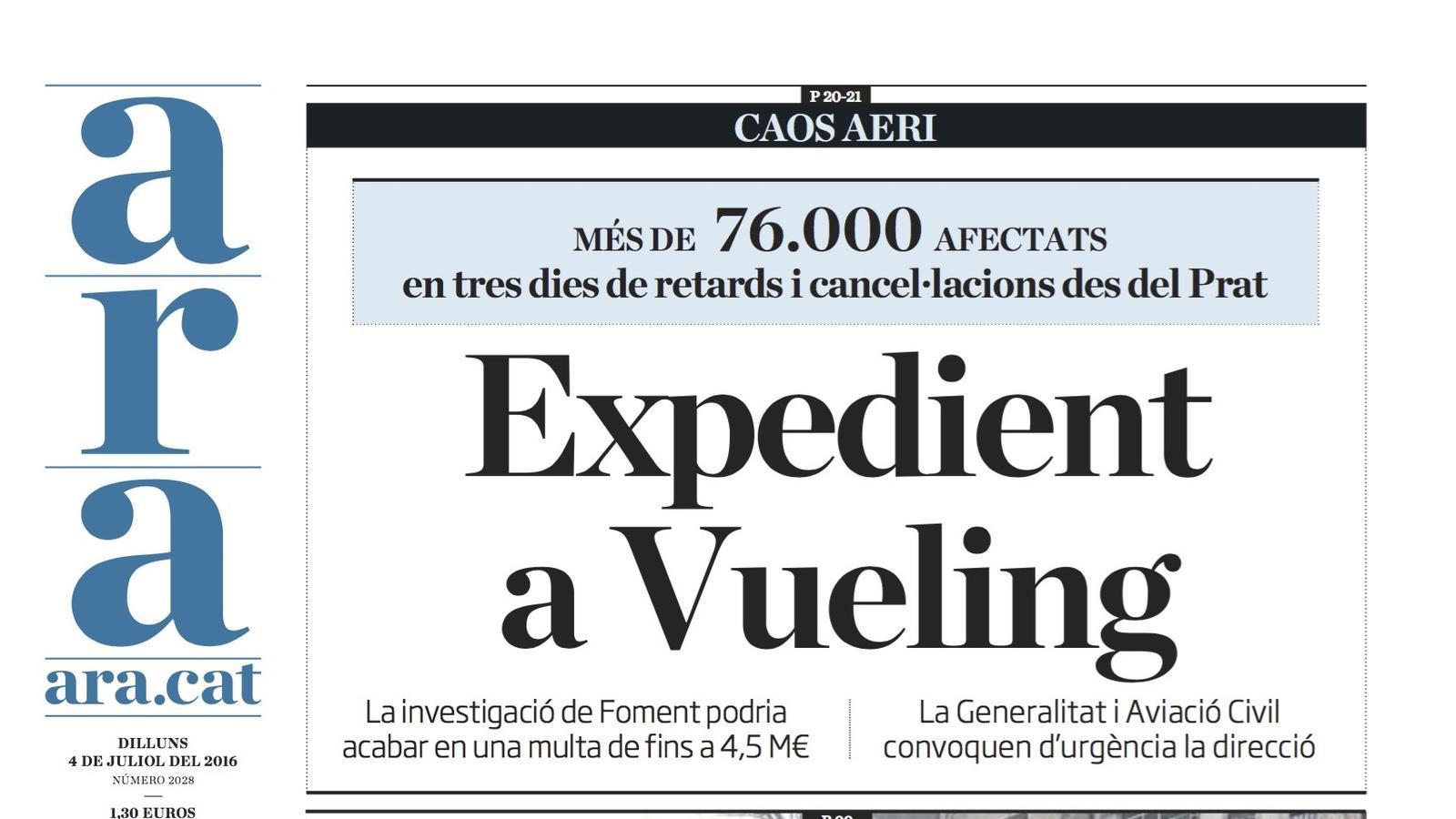 """""""Expedient a Vueling"""", portada de l'ARA"""