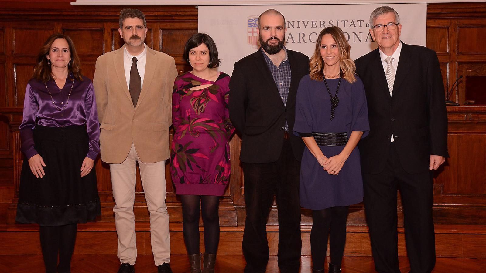 Els premiats ahir d'esquerra a dreta: Teresa Tarragó, Javier Luque, Maria Yubero, Guillem Anglada, Begoña Benito i Narcís Prat.