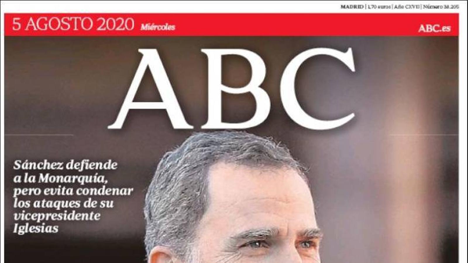 La portada de l''Abc' del 5 d'agost de 2020