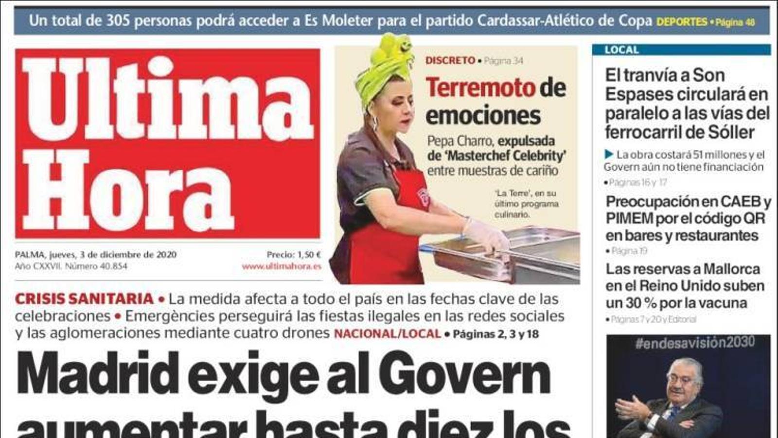 """""""Madrid exigeix el Govern augmentar fins a 10 els comensals per Nadal"""", portada de l''Última Hora'"""