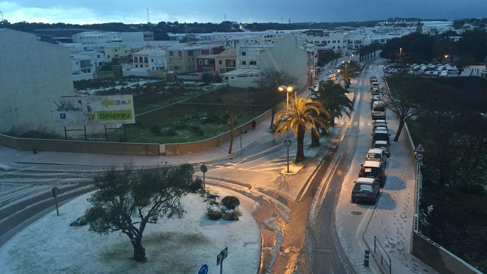 Alaior és el poble on més ha quallat la nevada d'aquesta matinada a Menorca.