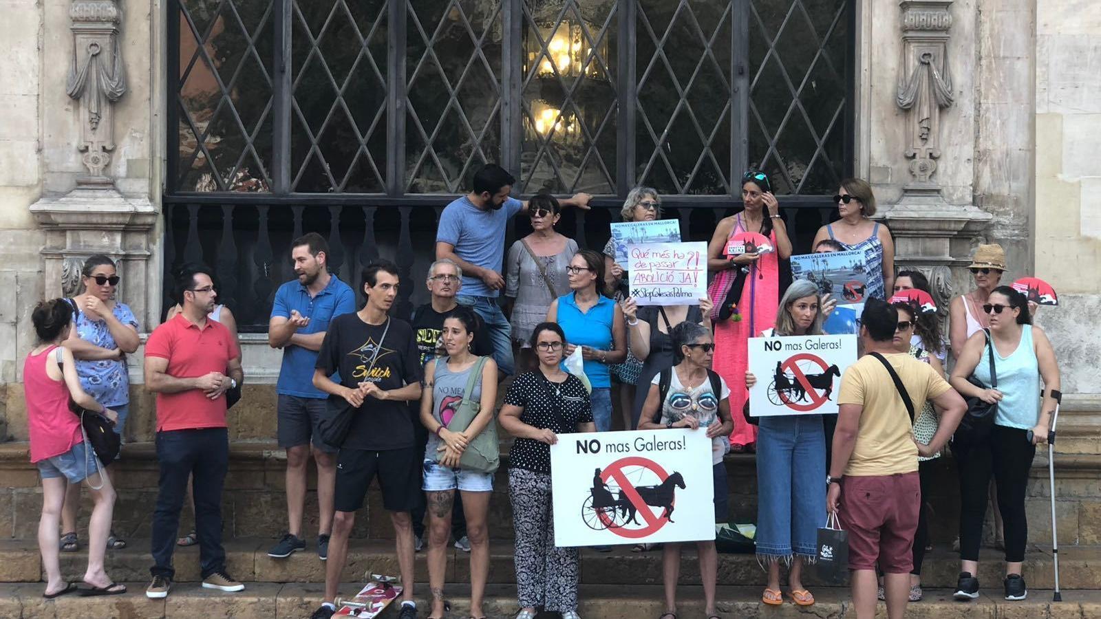 Concentració del partit animalista ICA davant l'Ajuntament de Palma
