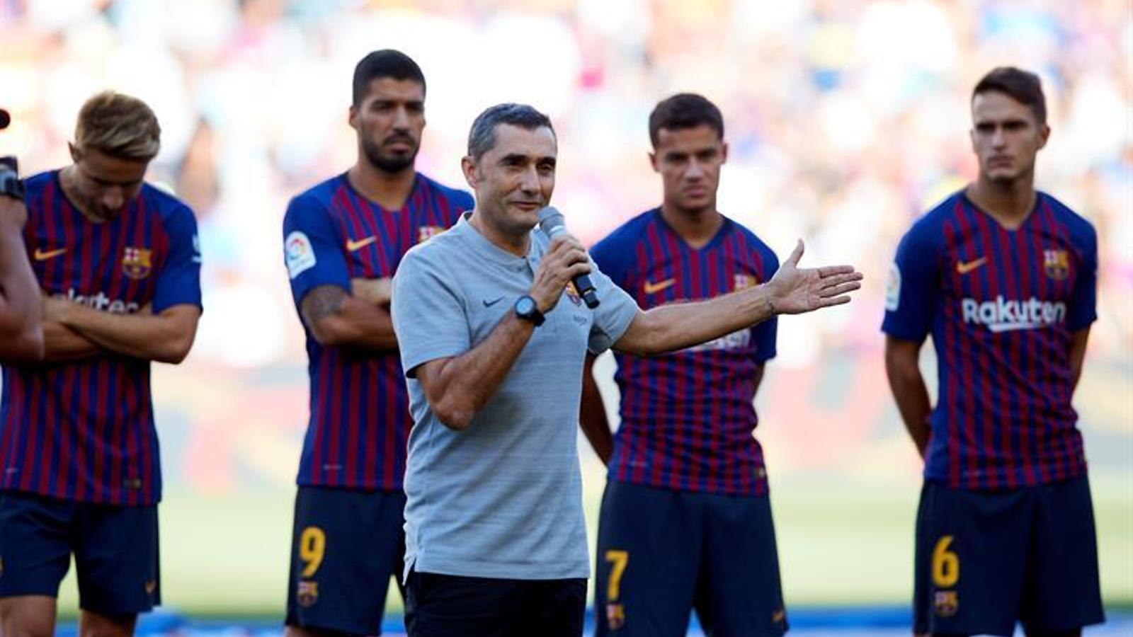 Valverde, durant el parlament previ al Gamper
