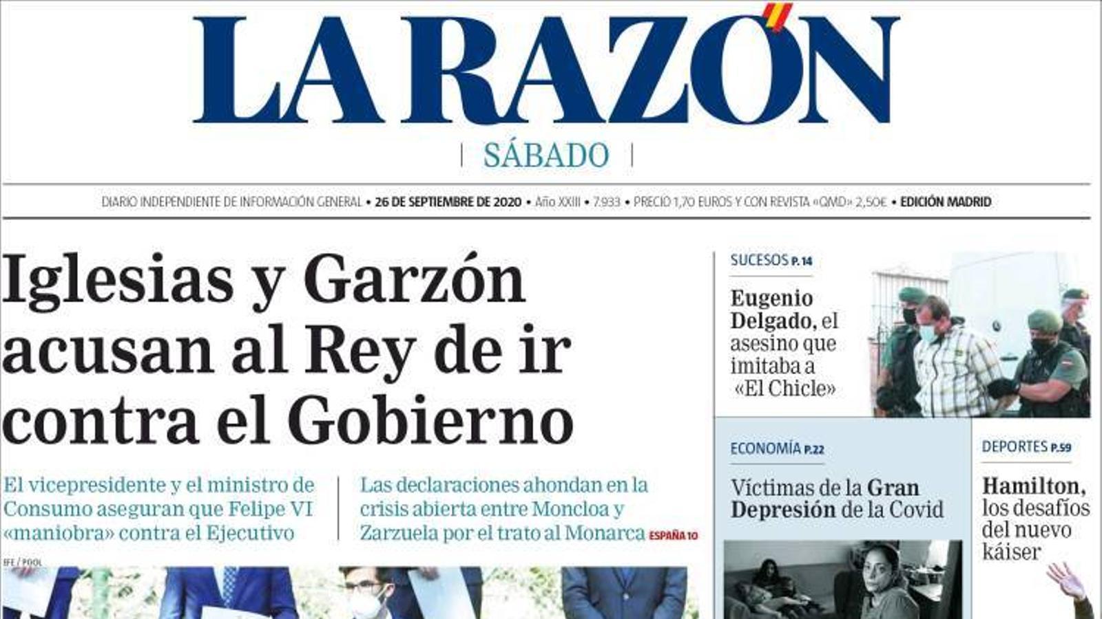 Portada de La Razón, 26 de setembre del 2020
