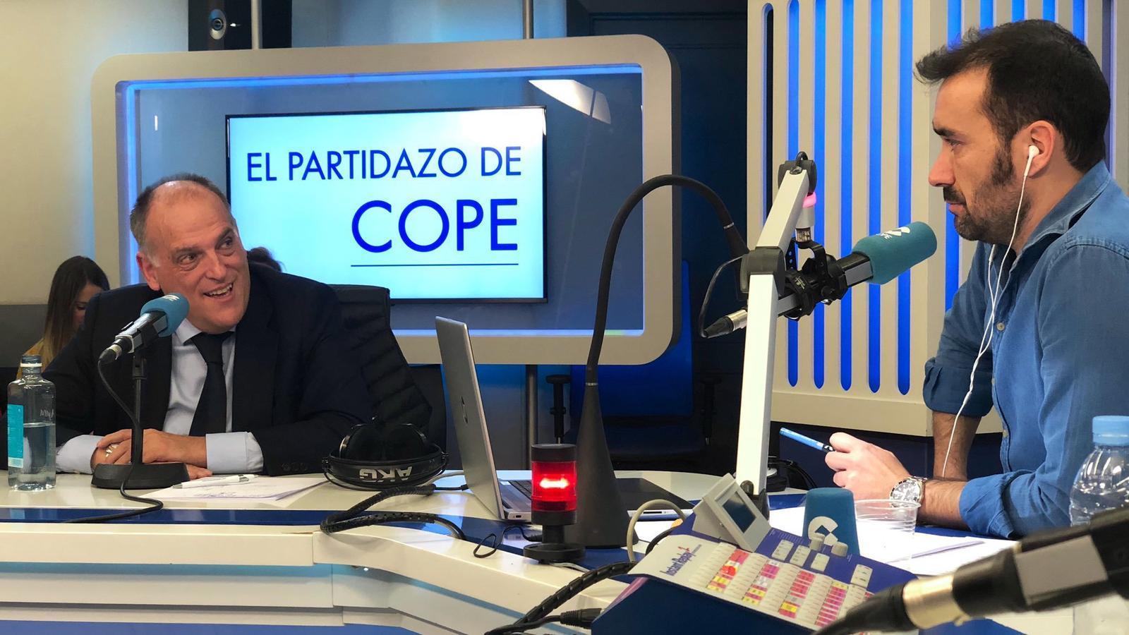 Javier Tebas, durant l'entrevista a 'El partidazo de Cope'