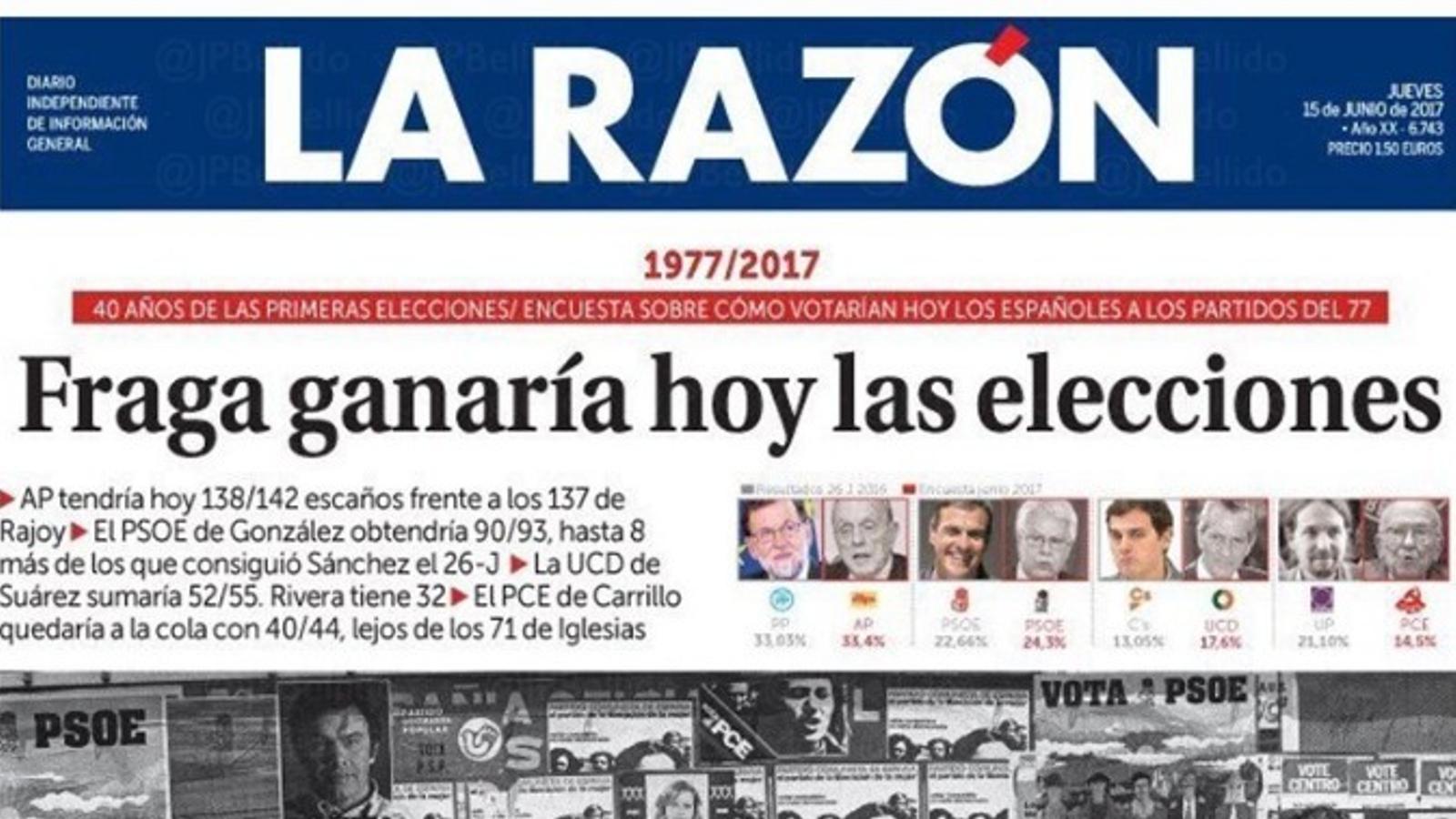 """""""Fraga guanyaria avui les eleccions"""", portada de 'La Razón'"""