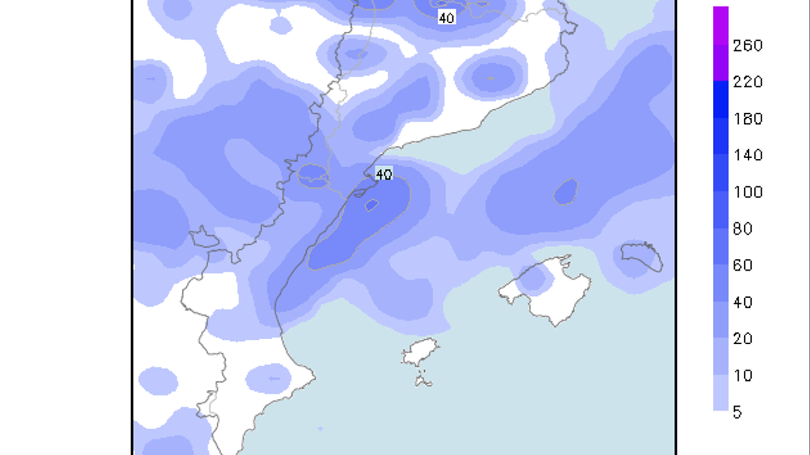 Acumulacions de precipitació previstes entre avui a les 8 del matí fins diumenge