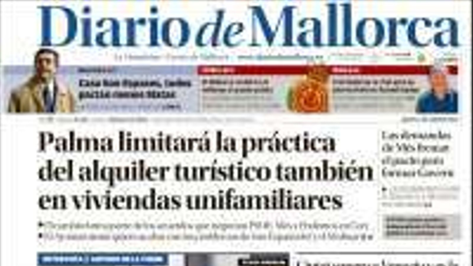 """""""Palma limitarà la pràctica de lloguer turístic també en habitatges unifamiliars"""", portada de 'Diario de Mallorca'"""
