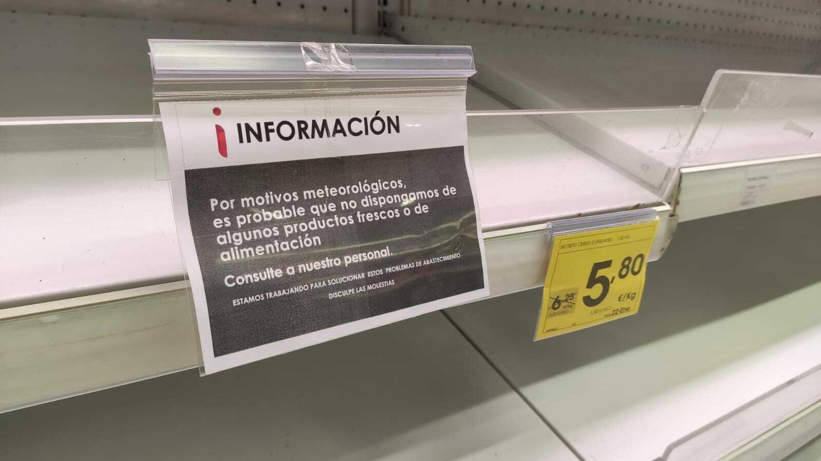 Cartell a les estanteries de la cadena de supermercats Eroski
