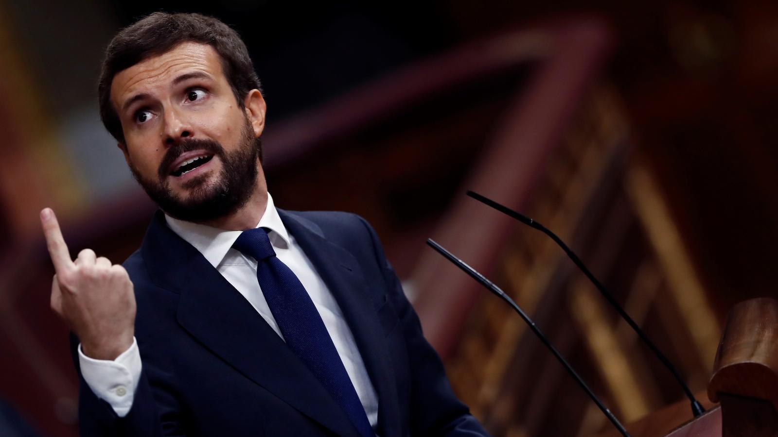 El líder del PP, Pablo Casado, durant el debat de la moció de censura de Vox.