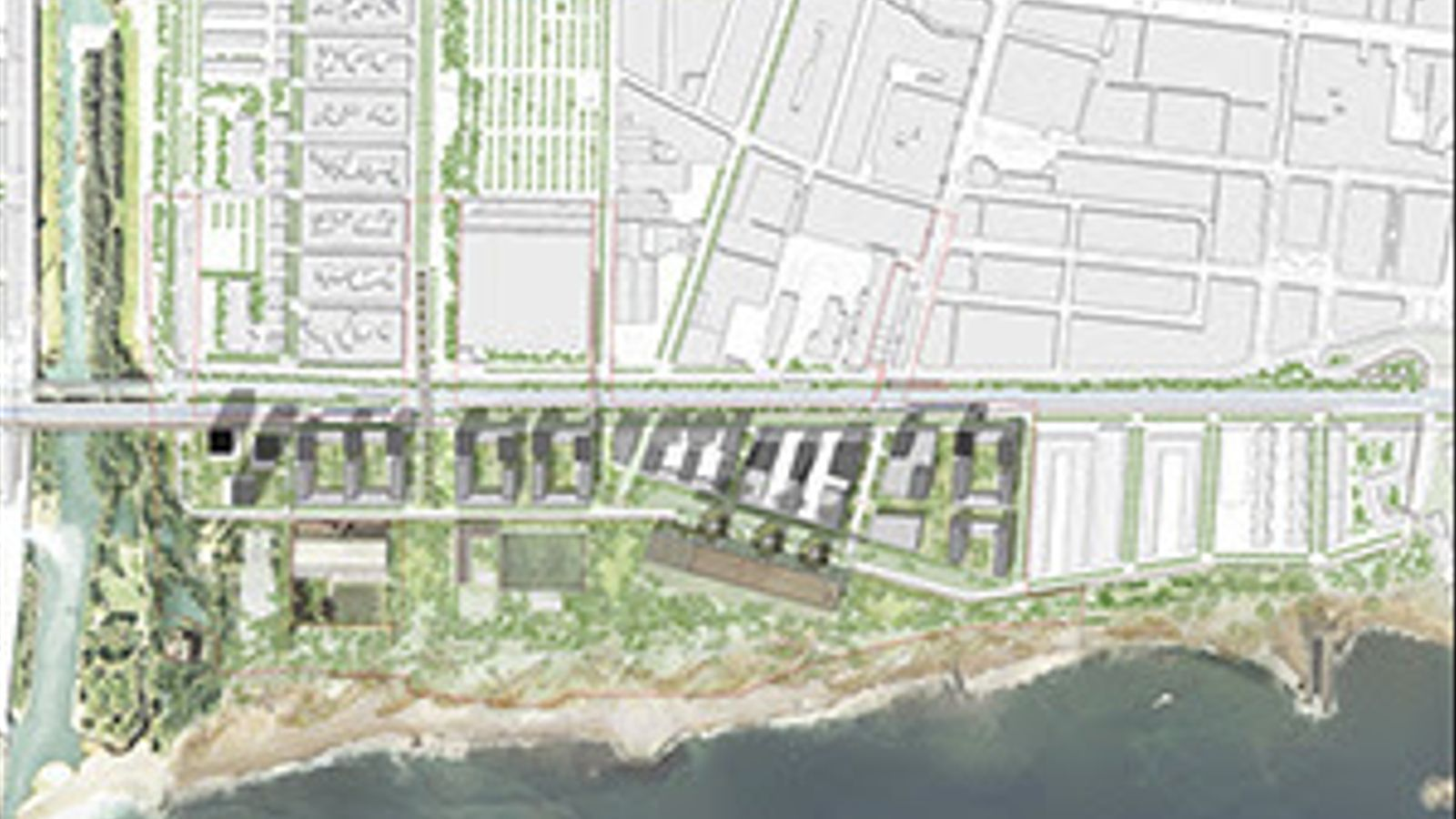 Plànol del nou pla urbanístic per a la zona de les Tres Xemeneies de Sant Adrià del Besòs