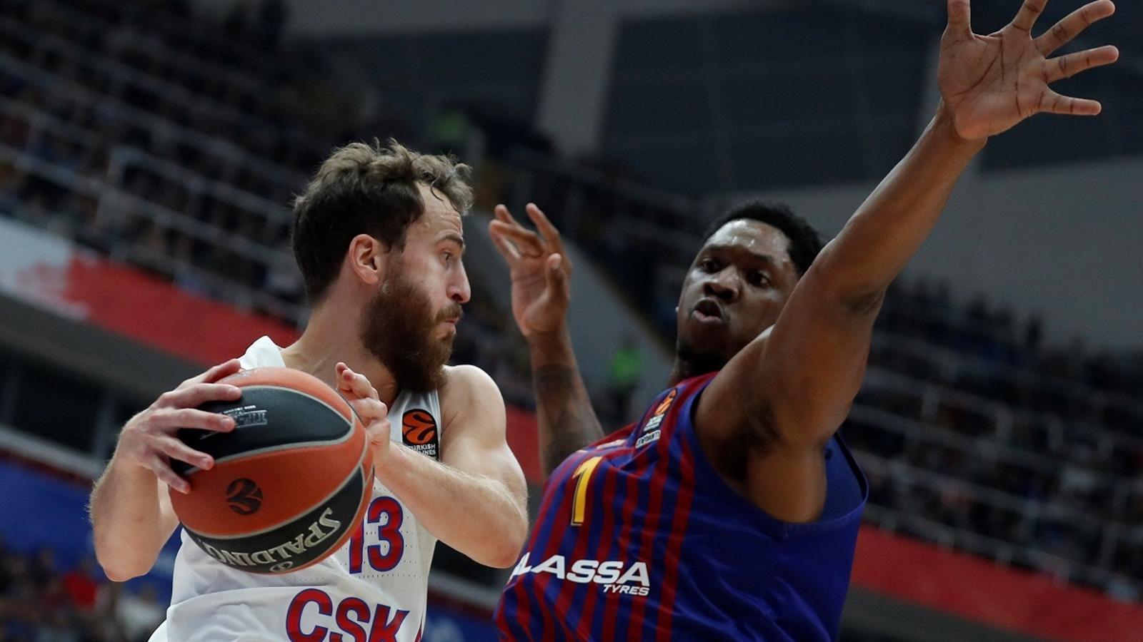 Sergio Rodríguez (CSKA) i Kevin Seraphine (Barça Lassa)