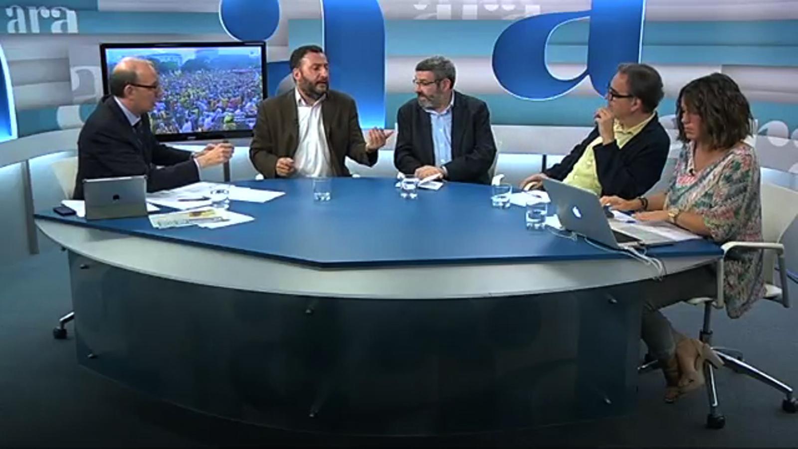Especial Diada 2013 a l'Ara TV, amb Antoni Bassas: la tertúlia amb Toni Soler, Joan B. Culla i Joan Subirats