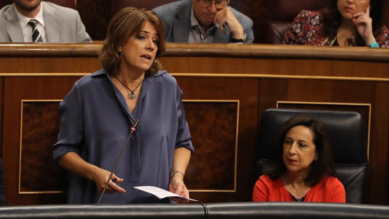 La ministra de Justícia, Dolores Delgado, la setmana passada al Congrés durant la sessió de control.