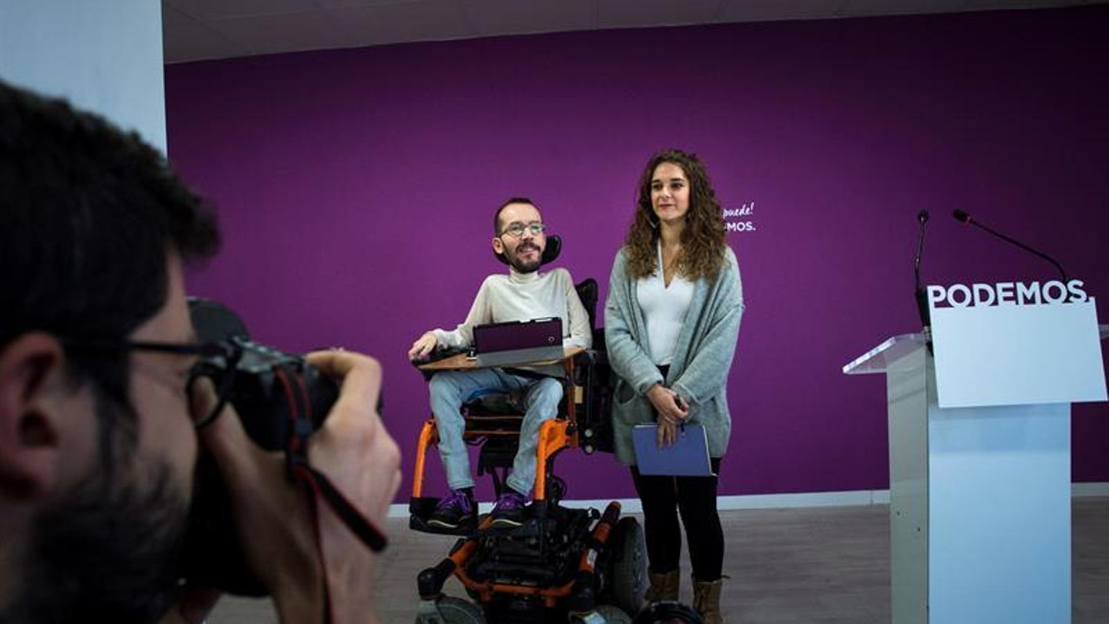 Pablo Echenique i Noelia Vera durant la roda de premsa del primer consell de coordinació de Podem després de la crisi amb Errejón.