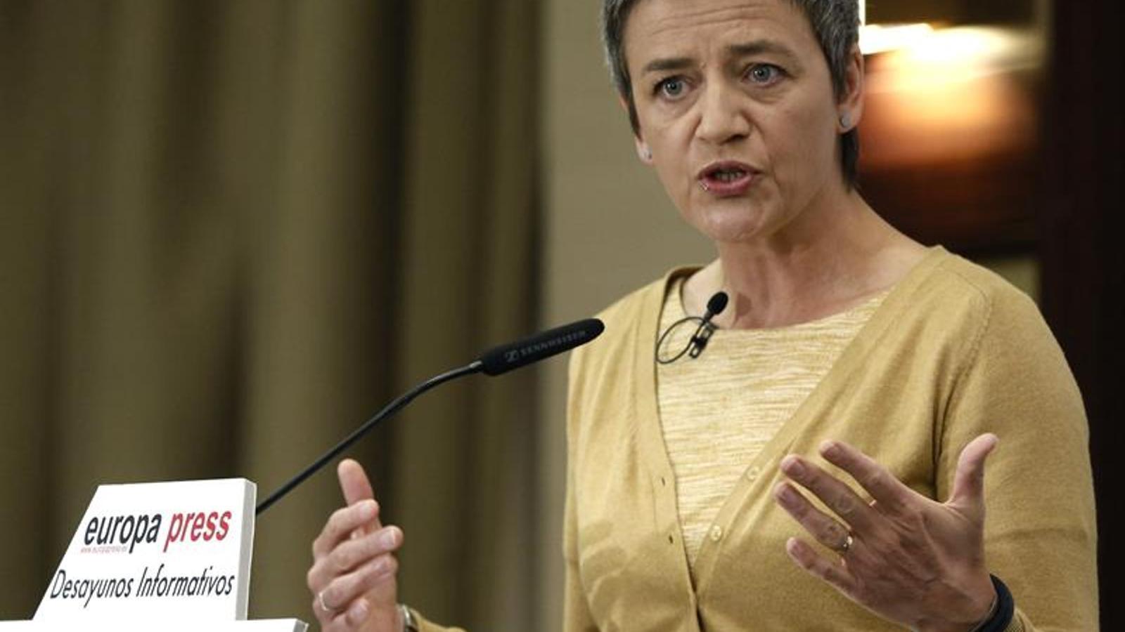 La comissària europea de Competència, Margrethe Vestager, visita per primer cop Madrid des que va assumir el càrrec. EFE