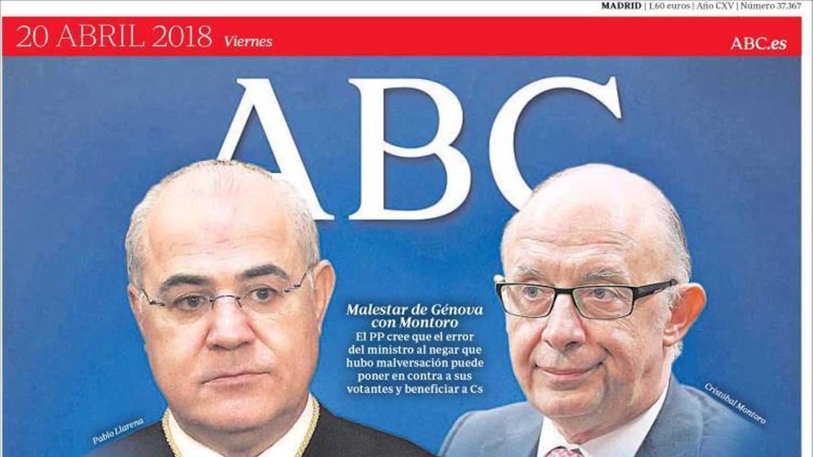 Portada de l'Abc, 20 d'abril del 2018