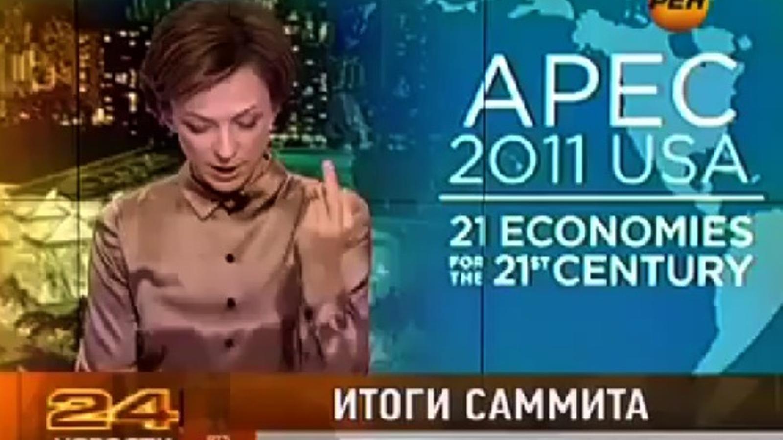 Una periodista russa fa botifarra a Barack Obama durant un informatiu