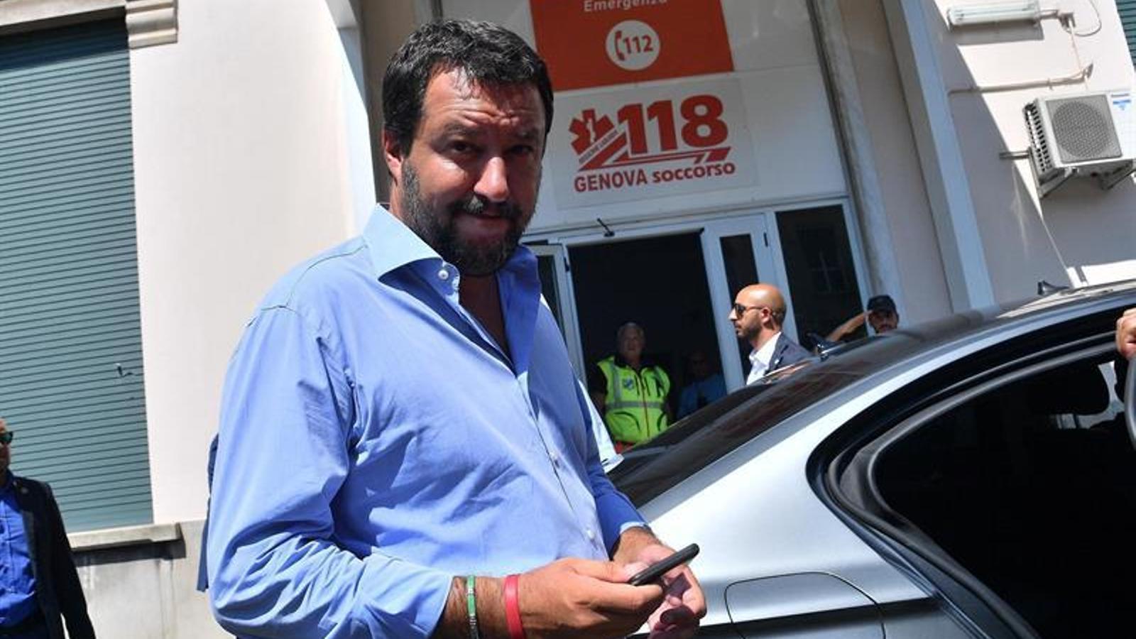 Matteo Salvini durant la seva arribada a l'hospital de San Marino, per donar suport a les víctimes.